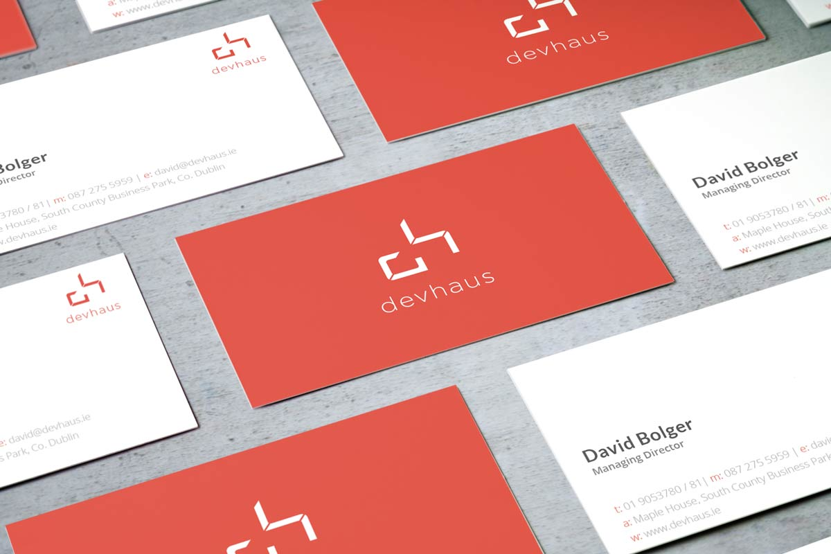 Image of the complete redesigned devhaus stationery set