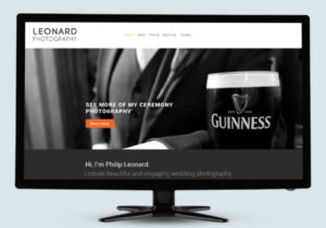 Screenshot of the home page of the website for Irish Photographer Philip Leonard