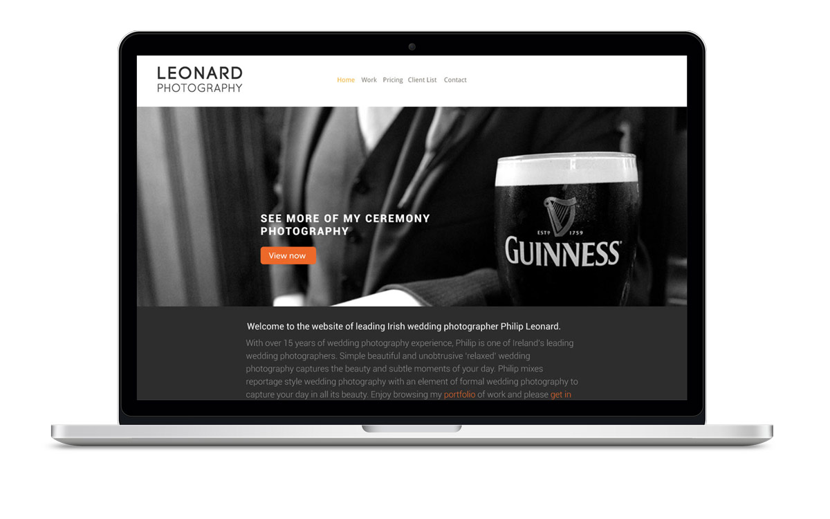 Image of website design for Irish Photographer Philip Leonard